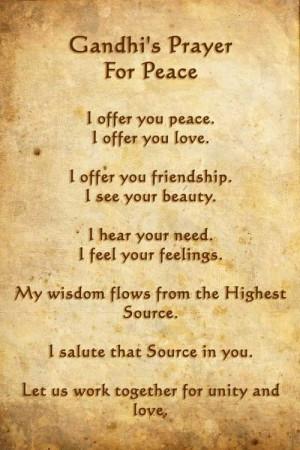 Ghandi's Prayer For Peace
