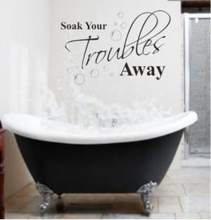 ... Troubles Away Bathroom Wall Quote Decals Decor Vinyl Art Sticker New