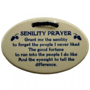 Senility Prayer Stoneware Plaque Ornament - Funny Grandparent Gift