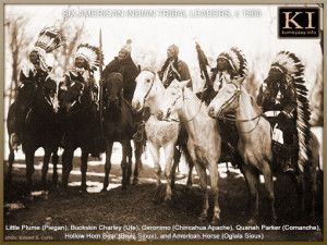 FAMOUS NATIVE AMERICAN CHIEFS ON HORSES WEARING CEREMONIAL FEATHERED ...