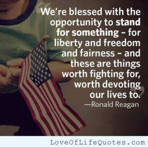 Ronald Reagan quote on standing for something