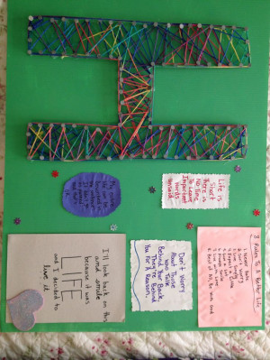 Cute quotes on poster board with nails forming a letter and wrap ...