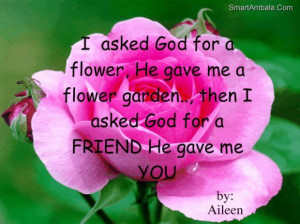 ... flower gardenthen i asked god for a friend he gave me you god quote