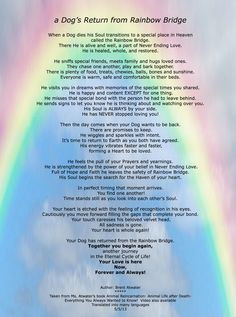 ... Rainbow Bridge Poem re a Dog's purpose and journey in animals ... More