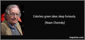 Colorless green ideas sleep furiously. - Noam Chomsky