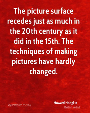 The picture surface recedes just as much in the 20th century as it did ...