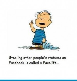 stealing other people s statuses on facebook is called a facelift ...