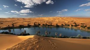 Beautiful Oasis Desert Lake Wallpapers