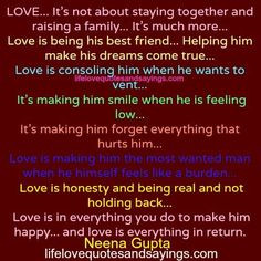 … Helping him make his dreams come true… Love is consoling him ...
