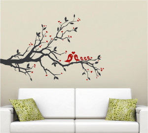 Tree Bird Love Heart Vinyl Decor Wall Lettering Words Quotes Decals