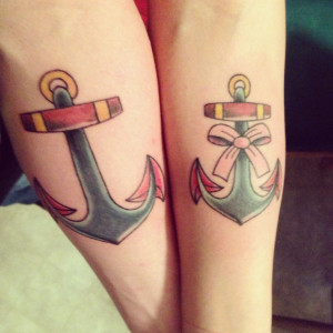 His and Her Anchor Tattoos