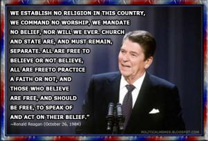 Ronald Reagan: We Establish No Religion Quote
