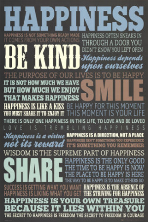 Happiness Quotes Motivational Poster Poster