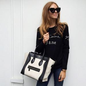 Celine sunglasses , Bella Freud sweater , JBrand jeans and Celine bag