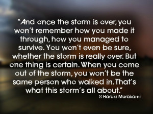 and once the storm is over you won t remember how you made it through ...