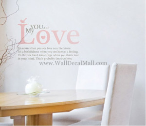 You Are My Love Quotes Wall Decals