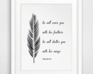 ... , Feather Print, Bible Wall Art, Bible Wall Print, Feather Art, Quote