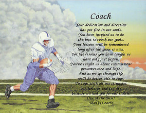 TO OUR FOOTBALL COACH PERSONALIZED PRINT POEM END OF THE YEAR ...