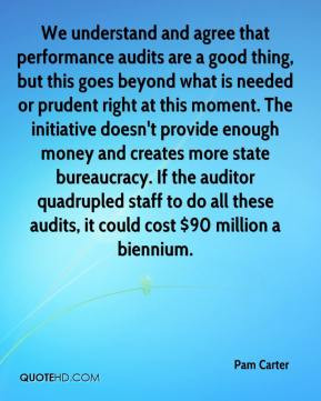 We understand and agree that performance audits are a good thing, but ...
