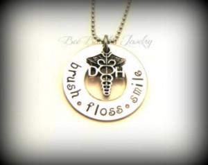 Stamped Jewelry / Dental Hygienist necklace / Dental Hygienist Student ...
