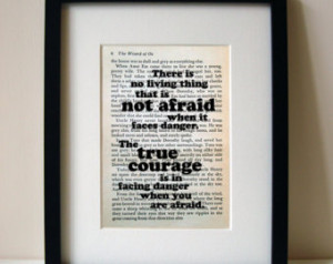 Wizard Of Oz quote print on upcycle d book page: