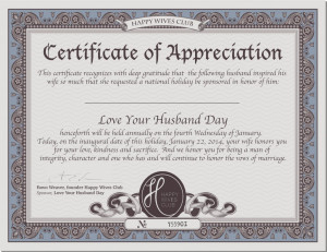 CertificateofAppreciation – National Love Your Husband Day
