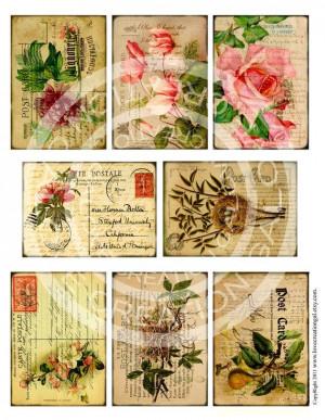 Vintage Flower Rose Botanical Postcard ledge by lovecreationgal, $4 ...