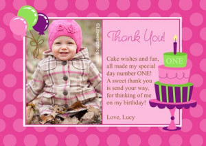 1st Birthday Party Thank You Cards