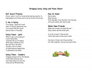 ... Scout BROWNIES Meeting Template | Bridging Brownie Song and Poem Sheet