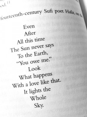 One of my favorite quotes by Hafiz