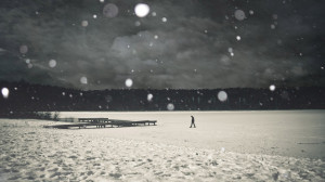 Download Walking on a frozen lake wallpaper