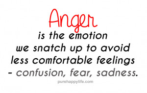 Anger Quotes: Anger is the emotion we snatch up to avoid less ...