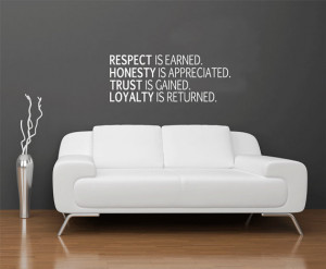 Respect Honesty Trust Loyalty Removable Vinyl Wall Art, honesty wall ...