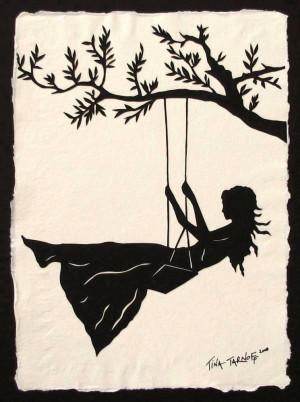Girl Swinging Silhouette