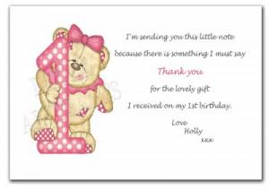 1st Birthday Thank You Sayings http://www.ebay.com.au/itm/12-x ...