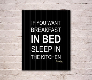 Kitchen Wall Art, Breakfast in Bed Quote, Home Wall Art, Modern Art ...