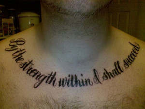 the quote about being finding strength inside to succeed is inked in a ...