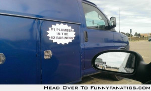 Sign on a local plumbing truck