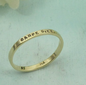 Stacking Gold Posey Ring - custom made stamped inscription in 14K gold ...