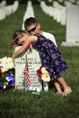 This breaks my heart. Two children grieve for their fallen father on ...