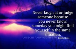 Never judge a person