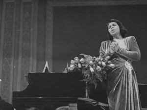 ... Marian Anderson Performing at Carnegie Hall Premium Photographic Print