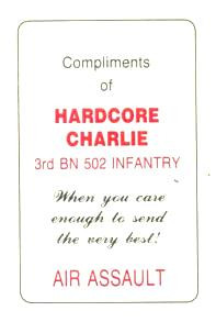 ... the first Iraq War. We know this because he quotes the card's motto
