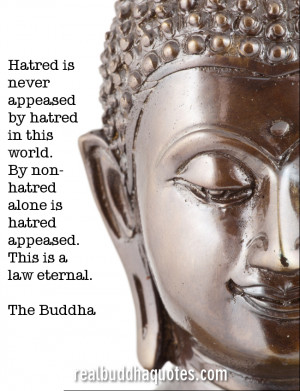 """... hatred alone is hatred appeased. This is a law eternal."""" The Buddha"""