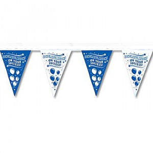 Home Congratulations On Your Success Blue & White Stringed Pennants