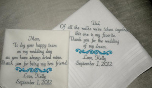 ... Wedding Handkerchief for Mother of The Bride Father of the Bride by