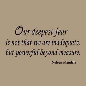 Details about Our Deepest Fear Nelson Mandela Quote Inspirational Wall ...