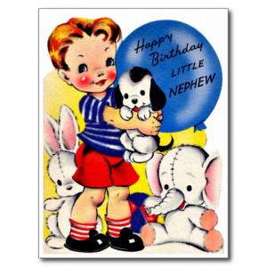 Little Nephew - Retro Happy Birthday Card Postcard