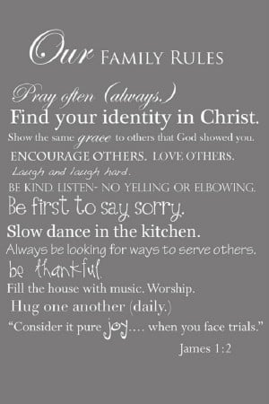 Rules for the Christian family…