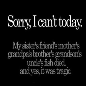Sorry I Can't Today Facebook Quote